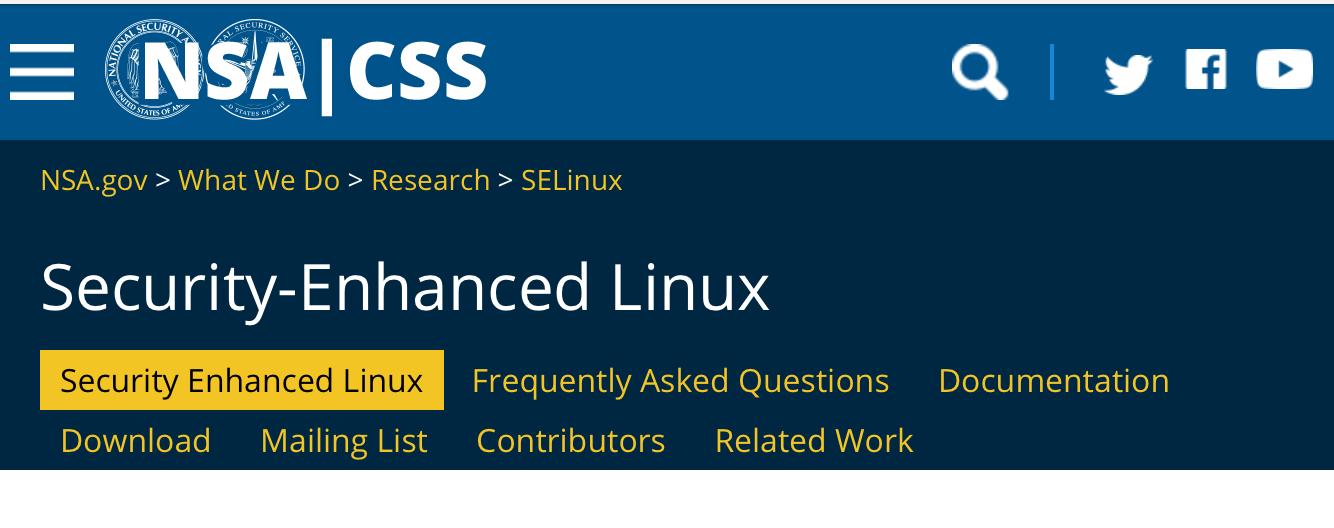 SELINUXのホームページのキャプチャ